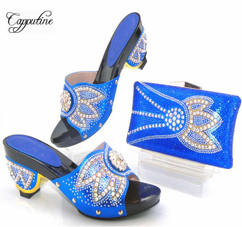 High Quality Elegant Italian Woman Shoes And Bag Set African Thin Heels Shoes And Bag Set For Wedding Party Free Shipping