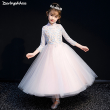 Luxury Embroidery Lace Flower Girl Dresses for Weddings Long Sleeve First Communion Dresses for Girls Kids Evening Party Dress long sleeve flower girls dresses for wedding mermaid mother daughter dresses lace first communion dresses for girls