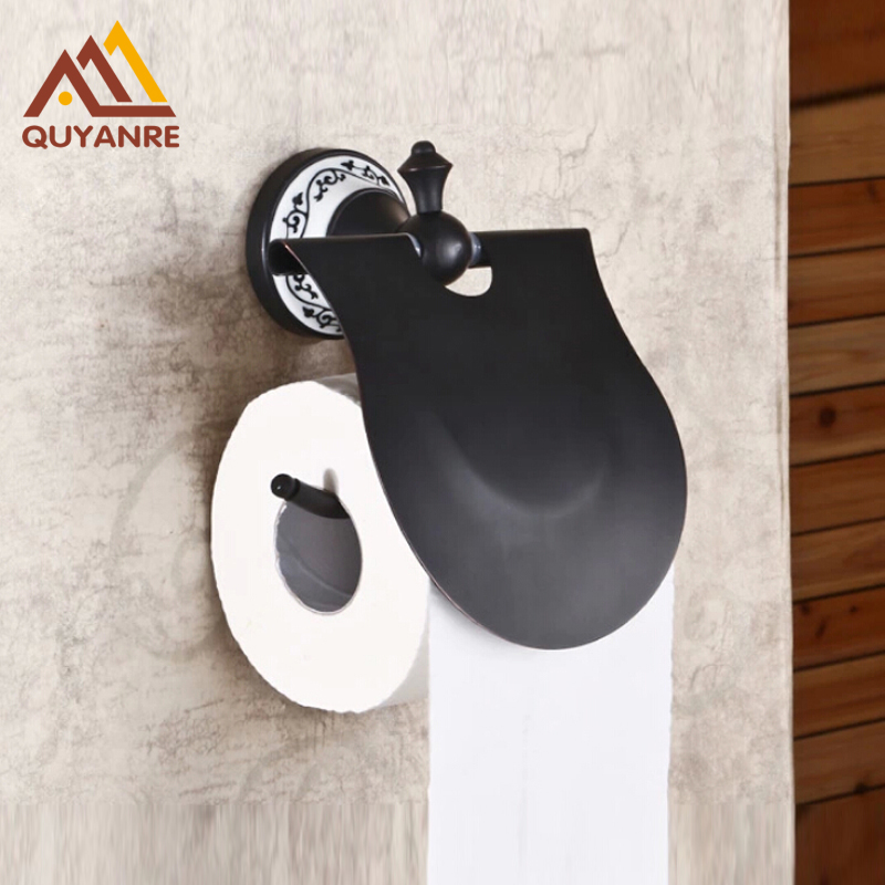 Free Shipping Wall Mounted Bathroom Tissue Paper Holder Toilet Paper Rack Black Color luxury golden color toilet paper holder wall mounted roll toilet paper rack with cover bathroom accessories free shipping 3308