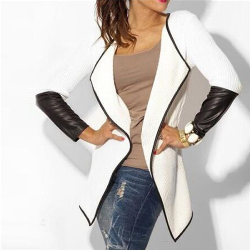 2018 Women Faux Leather Patchwork Long Sleeve Jacket Female Cardigan Autumn Ladies Casual Slim Outwear Tops Plus Size Coats