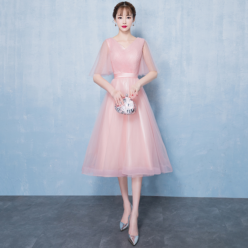 Sweet Bridesmaid Wedding Dress Elegant Full Length Pink Gowns 2019 Spring Slim Chiffon Banquet Cheongsam Cute A Line Korea Gown