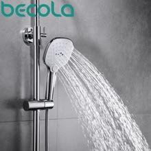 becola Round Three-Function ABS chrome finish hand held shower head Water Saving High Pressure bathroom shower faucet B-529 недорого