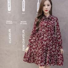 e008e5458895 Print Maternity Clothing Dress for Pregnant Women Long Sleeve Pleated  Dresses Autumn Casual Female Dresses Pregnancy