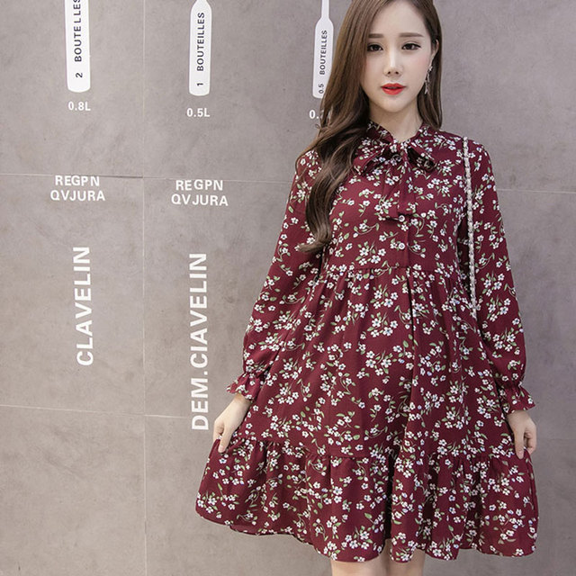 2948c6535ef98 Print Maternity Clothing Dress for Pregnant Women Long Sleeve Pleated  Dresses Autumn Casual Female Dresses Pregnancy Clothes