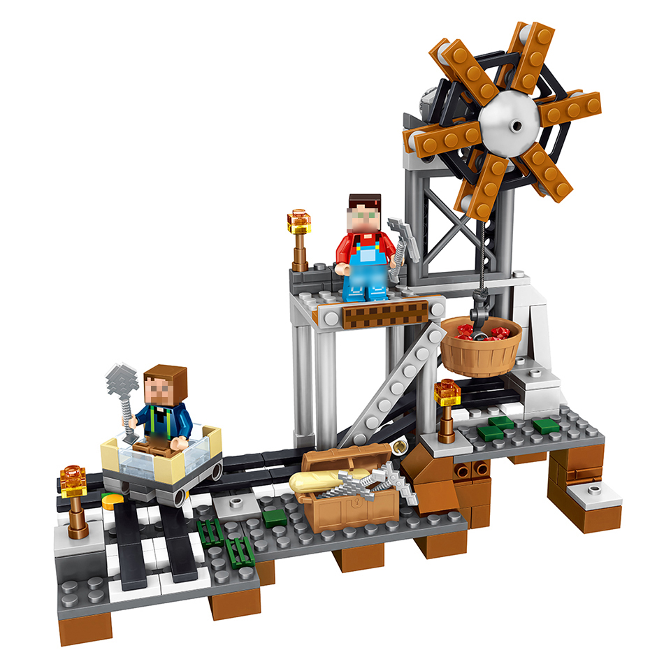 261pcs MY WORLD Minecrafted Model building Blocks Mine equipment Compatible With Legoe Kids Bricks mini Action figures Toys 15 lepin city town city square building blocks sets bricks kids model kids toys for children marvel compatible legoe