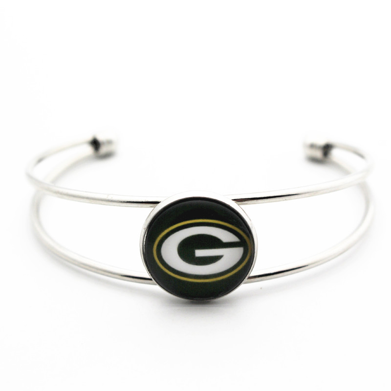 New Arrived 1pcs Copper Bracelet Jewelry 18mm Glass Print Football Green Bay Packers Open Bracelet&Bangles For Women Men Git ...
