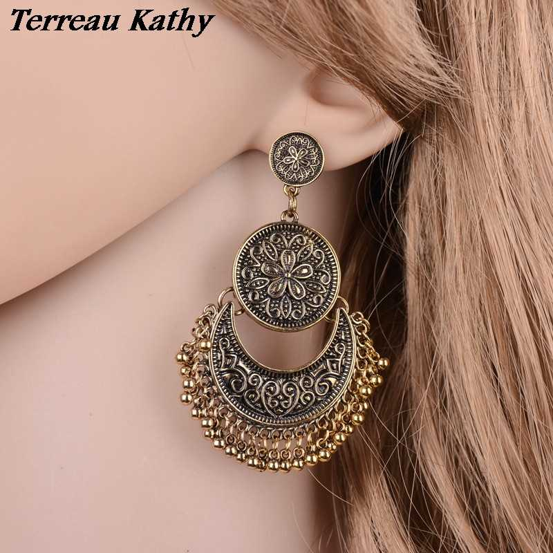 Detail Feedback Questions about Terreau Kathy Vintage Exotic Carved Flowers  Exaggerated Tassel Earrings Metal Stud Earrings For Women Online Shopping  India ... 5b7fdee69c27