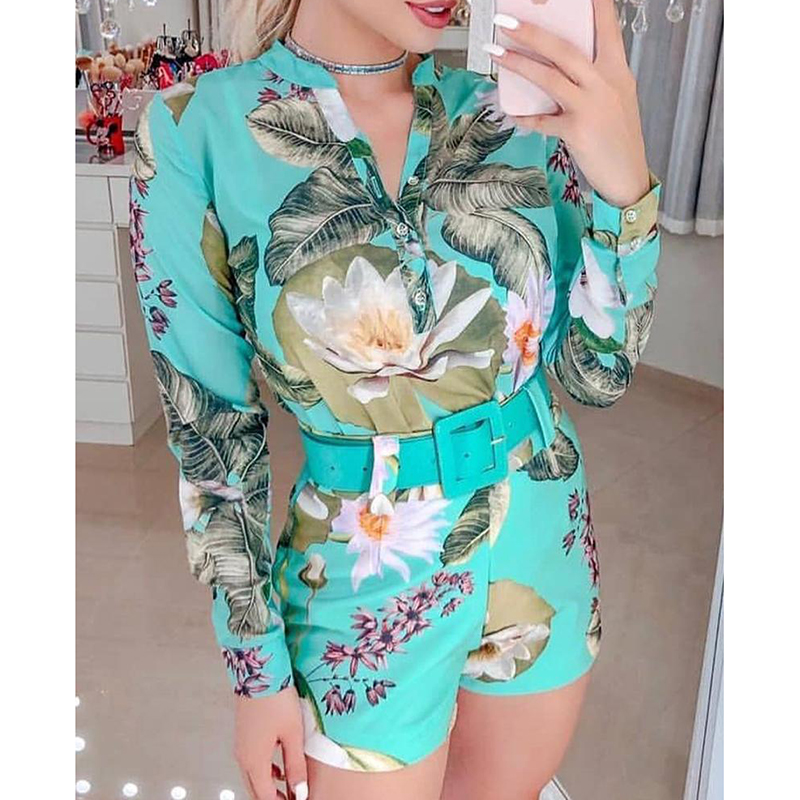 Tropical print long sleeve shirt shorts   jumpsuit   for women 2019 Summer fashion belted rompers womens   jumpsuit   Casual overalls
