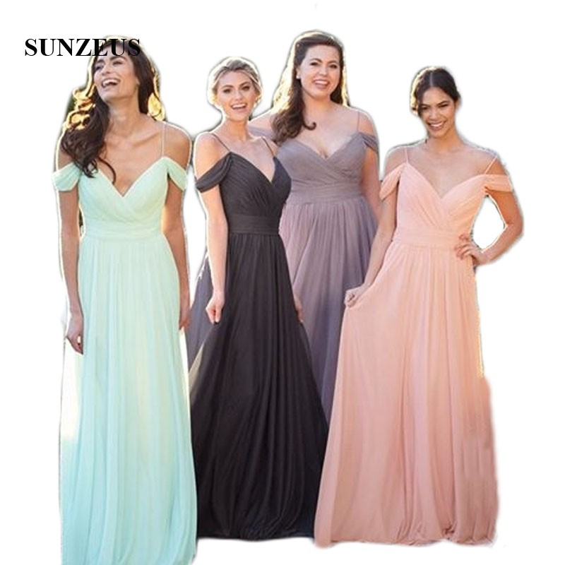 Spaghetti Straps Chiffon A-Line   Bridesmaid     Dresses   2019 Newly Pleats Sweetheart Simple Long Prom   Dresses   Girls Party Wear SBD160