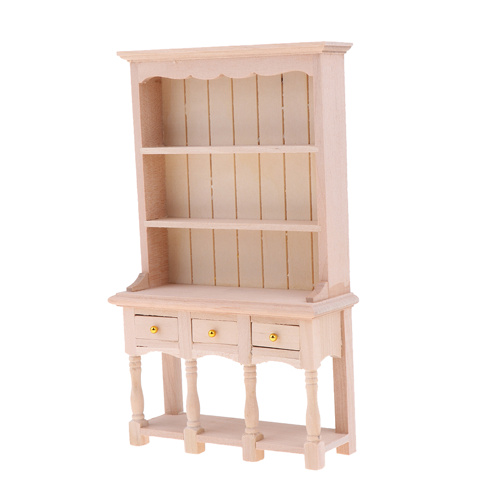 DIY Cabinet Model Kitchen Dining Cabinet Display Shelf Doll House Decoration 1:12 Dollhouse Miniatures