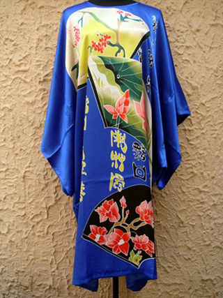 Royal Blue Chinese Women Silk Rayon Nightgown Sexy Short Robe Dress Summer Bath Gown Sleepwear Printed Kaftan One Size S4019