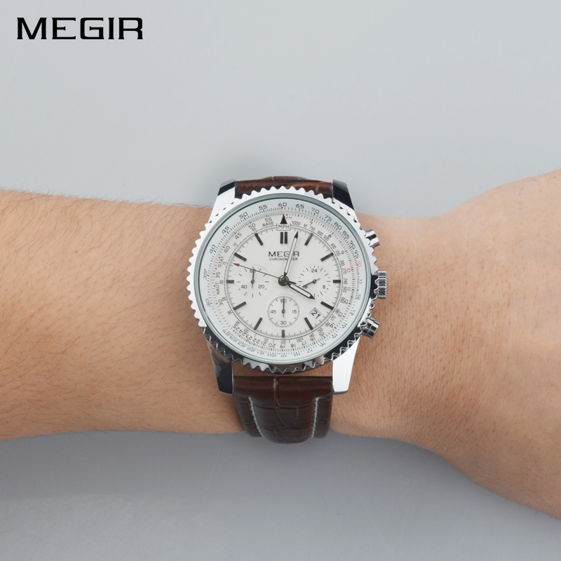 MEGIR Mens Quartz Wristwatches Top Brand Luxury Casual Fashion Sports Watches Leather Band Watch Male Clock Relogio Masculino mens watches top brand luxury quartz watch doobo fashion casual business watch male wristwatches quartz watch relogio masculino