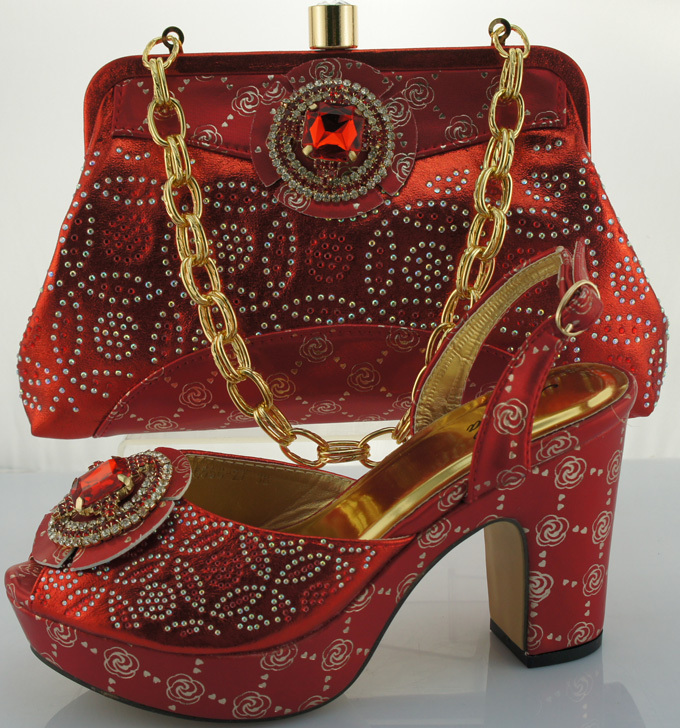 ФОТО Fashion Italy shoe and matching bag set for lady party and wedding ME0020 Red color size 38-42 for Free shipping.