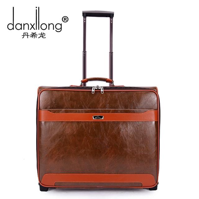 Расширенный ПУ тележки для багажа коммерческой мужской костюм поле винтажные сумки багажа дорожная сумка мужчина 17 багажа, мужчина и женщина ретро сумки