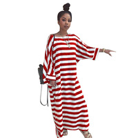 2018 Autumn New Fashion Striped Women Dresses Loose Batwing Sleeve T Shirt Tee Shirt Floor Length Long Dresses