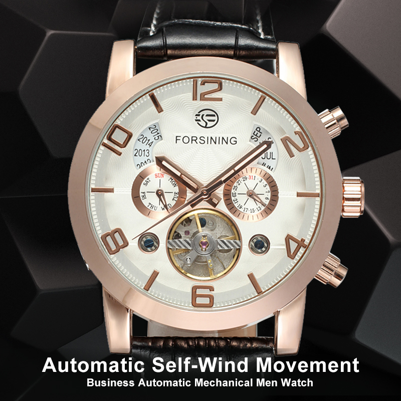 Fashion Automatic Business Watch for Men Tourbillon Mechanical Wristwatches with Black Genuine Leather Strap Gift Box tian wang leather strap automatic mechanical watch for business casual men with ss see through case back gs5789s d