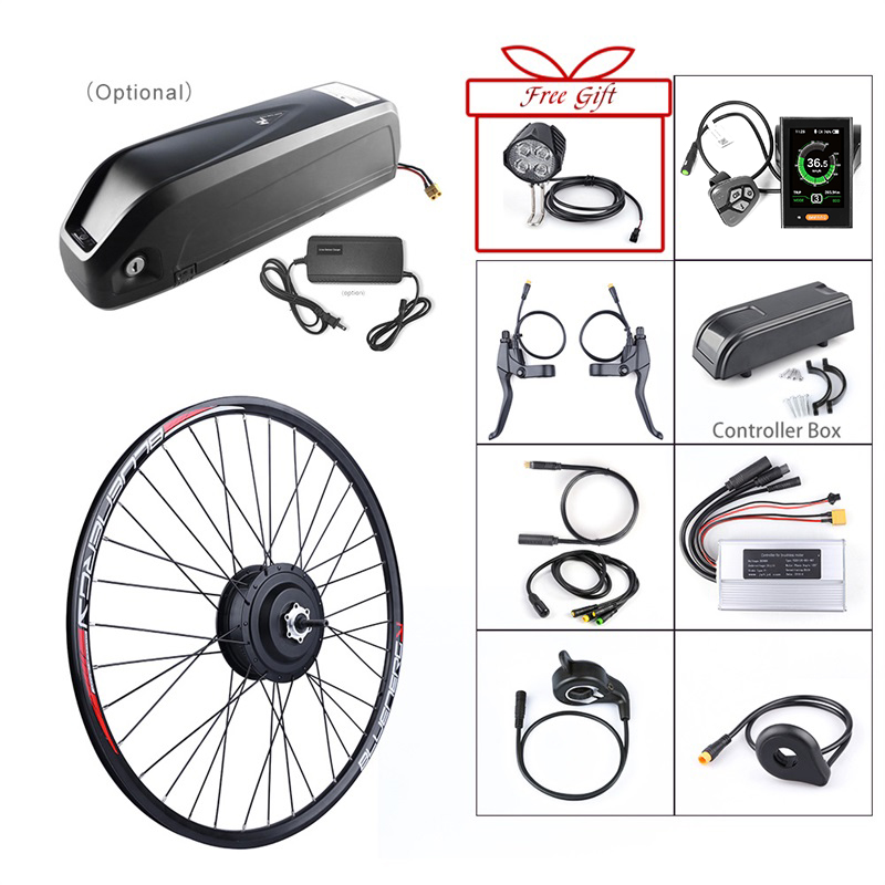 E bike Front Hub Motor 48V 500W Bafang Brushless Gear Electric Bicycle Conversion Kits with 12Ah