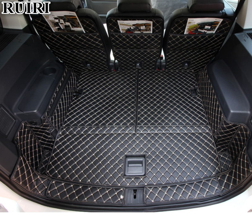 High quality! Full set car trunk mats for Volkswagen Touran 7 seats 2019-2015 durable boot carpets cargo liner for Touran 2017