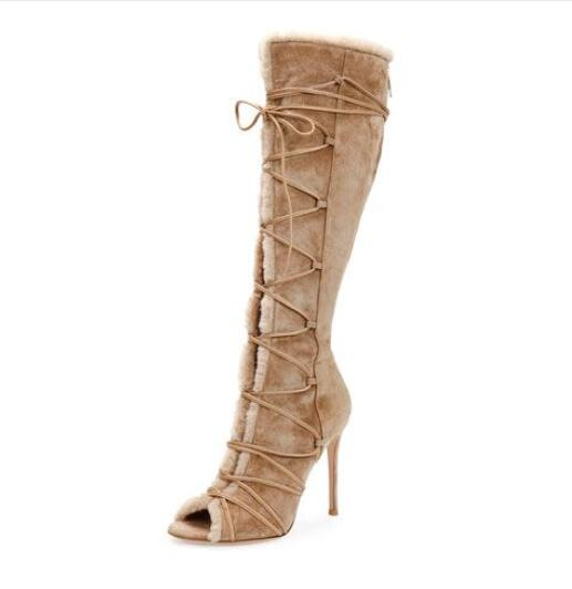 Hot Selling Women Suede Leather Knee High Boots Fur Open Toe Ladies Shoes Lace Up High Heel Boots Stiletto Heel Long Boots leopard synthetic suede women pointed toe high stiletto heel boots knee high lace up bootie women platform shoes ladies 2016