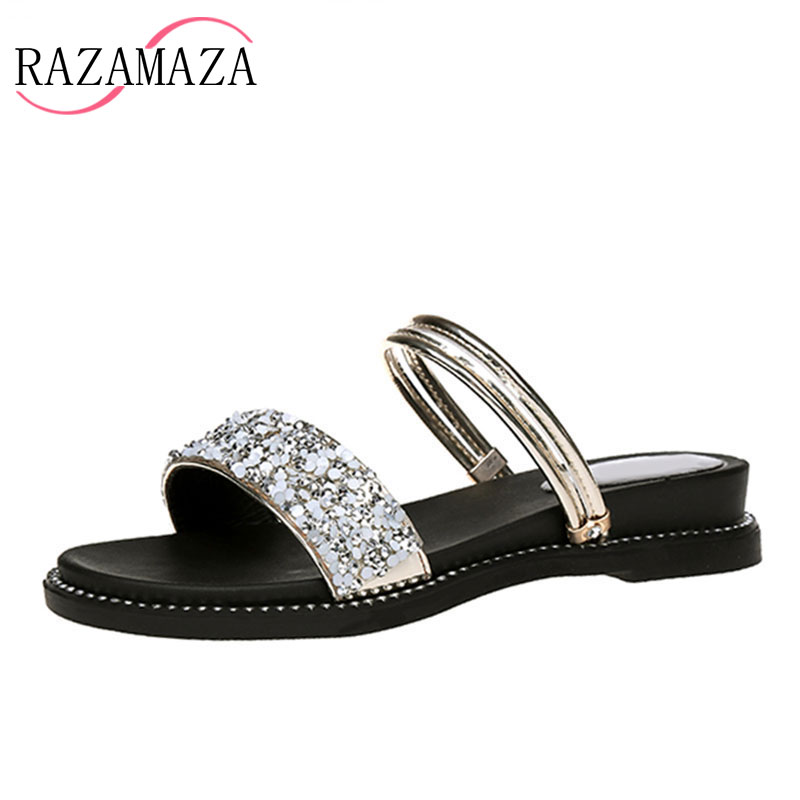 RAZAMAZA Lady Fashion Flats Sandals Glitters Women Slippers Concise Summer Shoes Women Beach Leisure Daily Footwear Size 35-40 rizabina concise women sneakers lady white shoes female butterfly cross strap flats shoes embroidery women footwear size 36 40