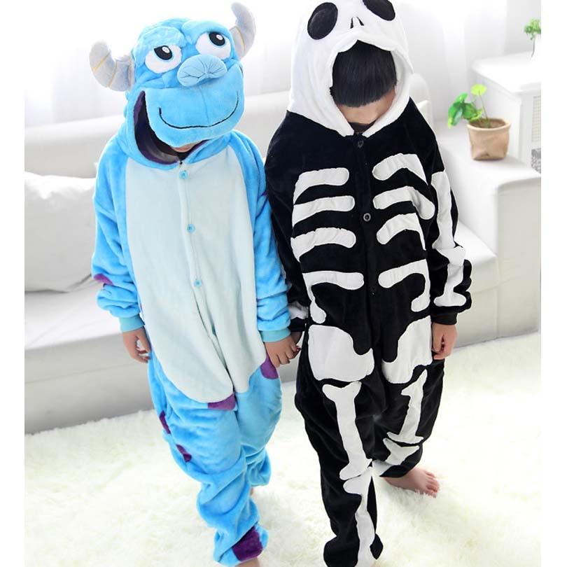 Crianças kigurumi esqueleto & sullivan animal pijamas macacão unissex meninos meninas pano do bebê macacão flanela onesies traje