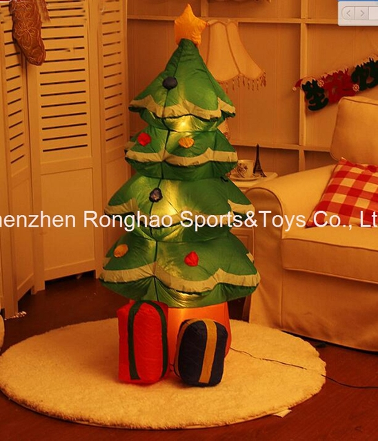 4 foot lighted christmas tree slim flocked foot lighted christmas inflatable tree with multicolor gift boxes and star party decoration