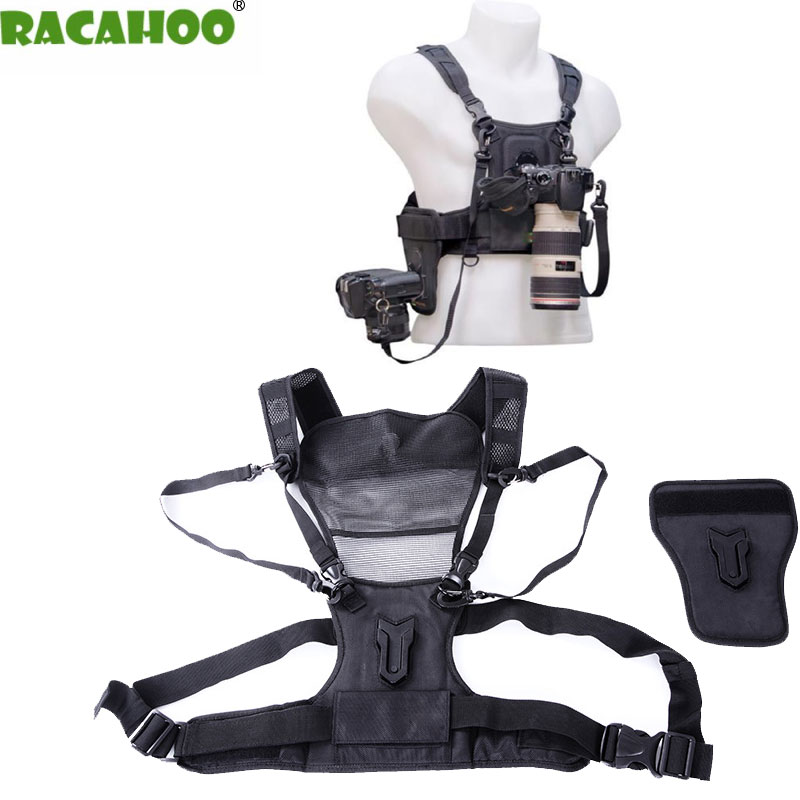 RACAHOO Professional Outdoor Camera Strap With Double Shoulder Strap Quick Loading Photography Vest For Digital SLR DV Camera ...