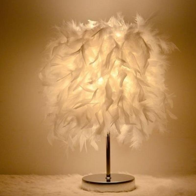 Feather Shade Table Lamp Metal Vintage Elegant Bedside