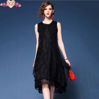 2017 Top High End Brand Summer Women S Fashion Three Layers Patchwork Asymmetric Casual Dress Sundress