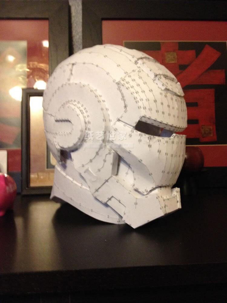 Paper Model Film Iron Man War Machine Head 1 : 1 Wearable 3D Handmade Paper Helmet
