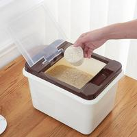 Household Flip Rice Storage Bin Japanese Style Sealed Rice Cylinder 10 KG Moisture proof Plastic Rice Bucket