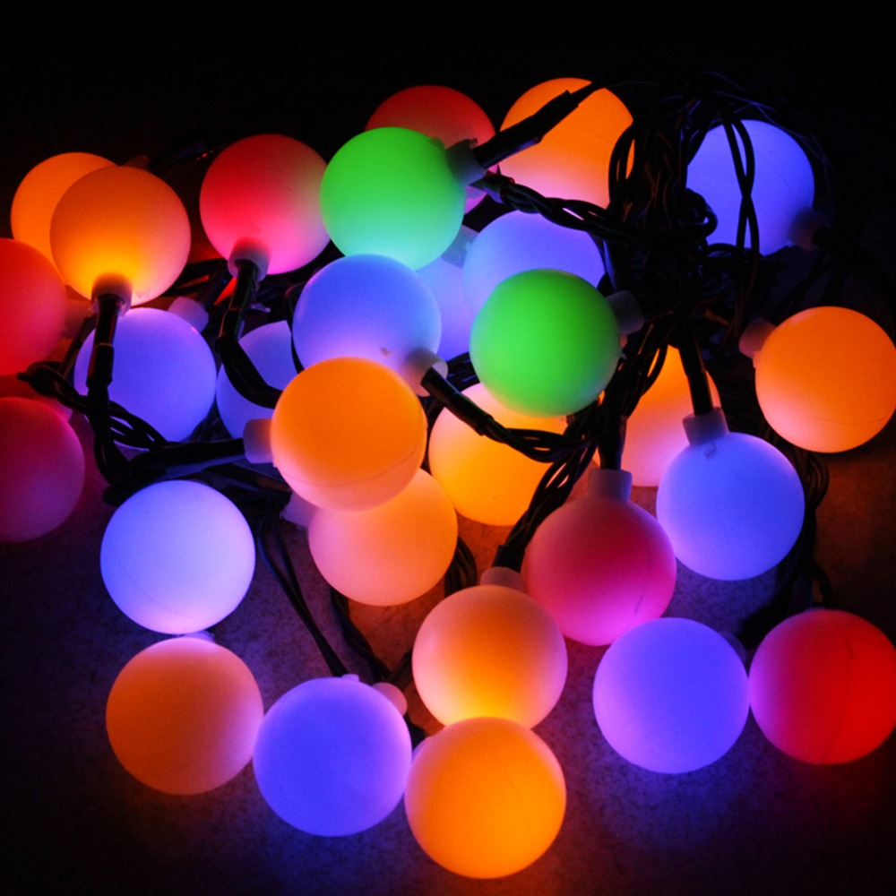White Ball Solar String Light Rgb 5m Length 30 Leds Christmas Lights For Garden Decoration Outdoor