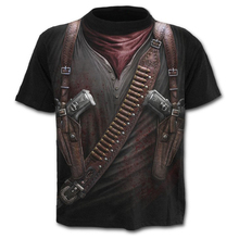 2019 New Punk style Mens T shirt 3D Gun Warrior Tshirt Print Knife Harajuku Tops Tee Short Sleeve Fitness t-shirt large sizes