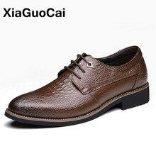 Xiaguocai Мужская модельная обувь крокодил Оксфордские туфли для мужчин обувь с острым носком в британском стиле Бизнес роскошные свадебные Ман обувь X166