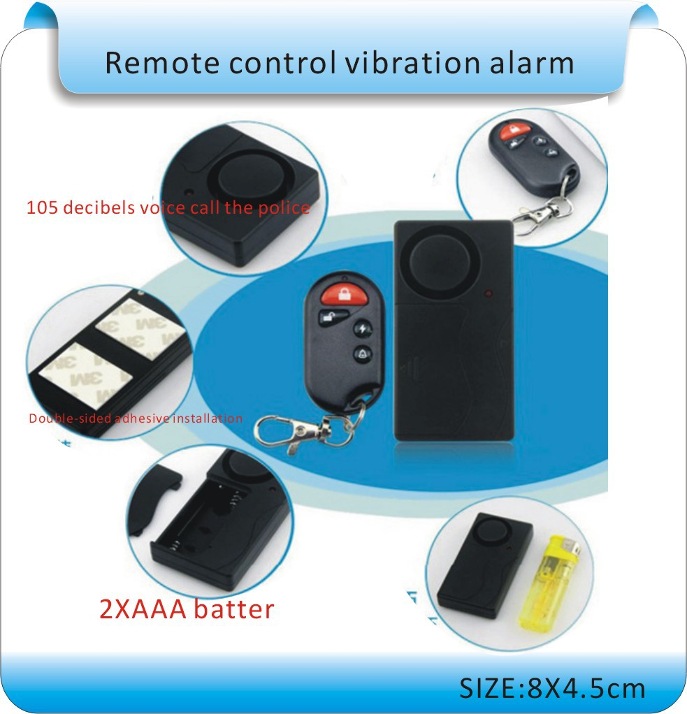 Home Security Wireless Remote Control 105decibels Vibration Motorcycle- Bike/ Door -Window Detector Burglar Alarm 9965 2 vibration motorcycle burglar alarm w dual remote controller red black