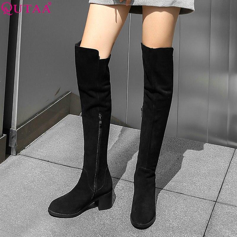 QUTAA 2019 kobiety buty moda damskie buty kobiet buty do kolan zamek wszystkie mecz eleganckie buty zimowe damskie duży rozmiar 34 40 w Kozaki do kolan od Buty na  Grupa 1