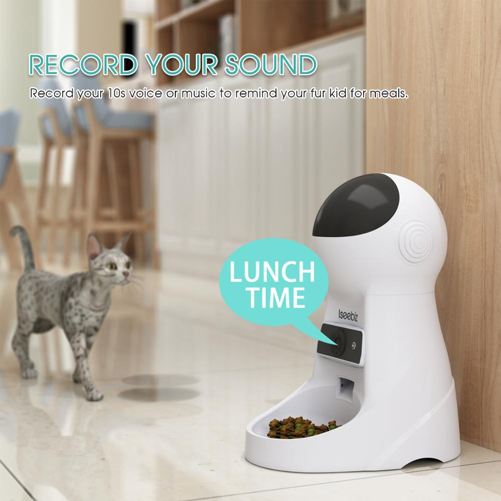 Image 2 - Iseebiz Update 3L Pet Feeder Wifi Remote Control Fashion Smart  Automatic Pet Feeder Dogs Cat Food Rechargable With Video MonitorDog  Feeding