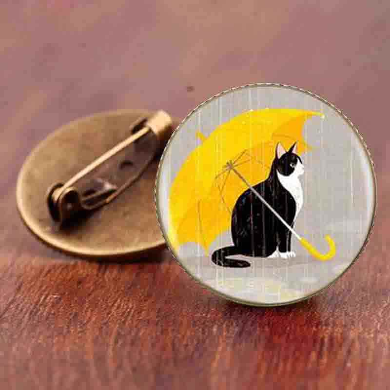 Gaxybb kucing kartun bros perhiasan fashion aksesoris sederhana desain supernatural steampunk cat animal bros hadiah pins
