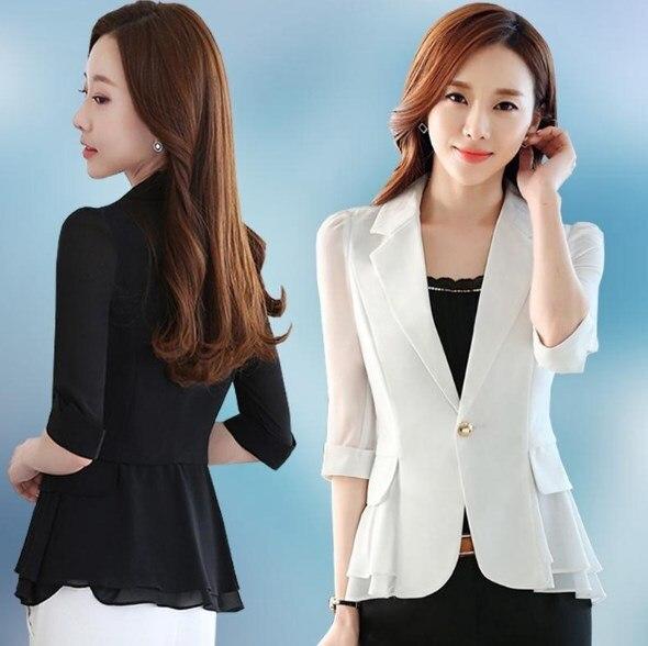 Womens Summer Short Blazer Women Slim Fit Peplum Suit Jacket Women Short  Sleeve Chiffon Blazers Coats Black Blue White Pink fbd6b45884