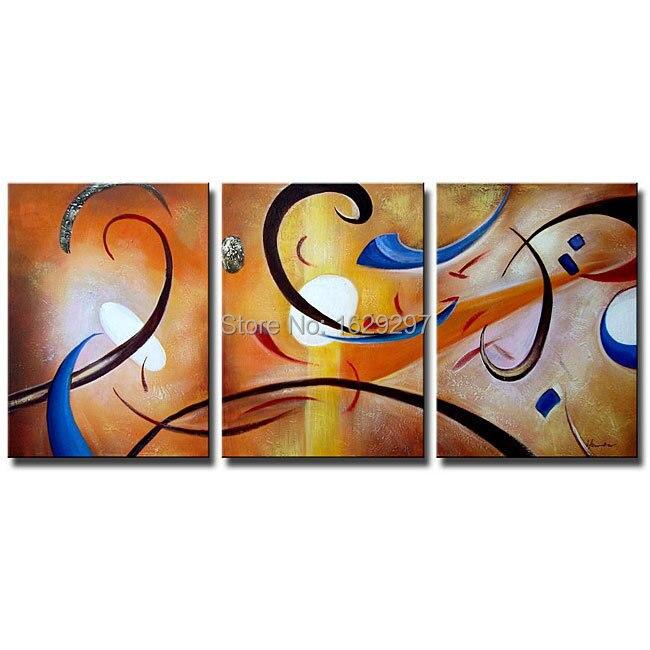 Mutluluk Soyut Yag 3 Tuval Set El Boyali Yagliboya Duvar Sanati