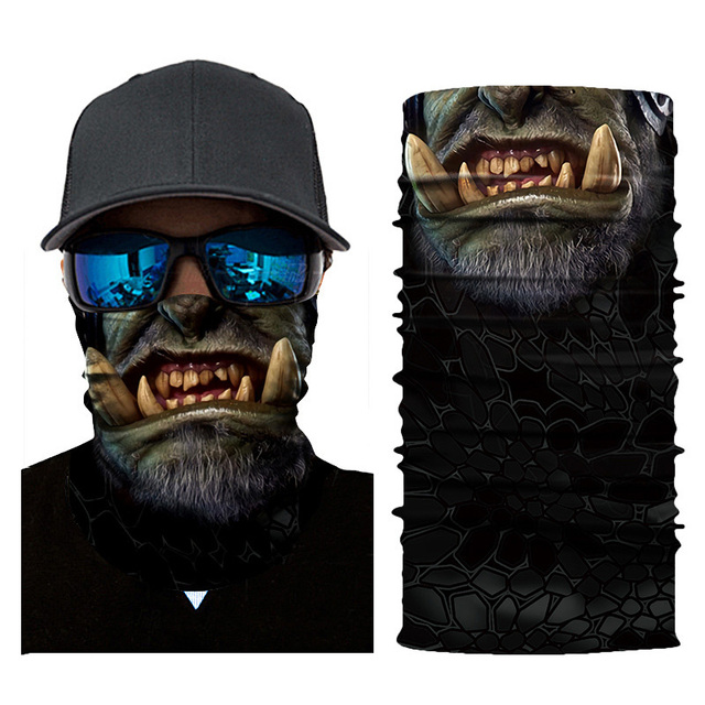 Cycling Headscarf 3D Printing Skull Face Mask Scarf Ghost Dust-proof Snowboard Neck Warmer Face Shield Balaclava Bandana AC0243 3