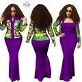 2017 nuevos vestidos para mujeres ropa tradicional africana africano 2 unidades dress top primavera larga dress trajes más tamaño wy1313