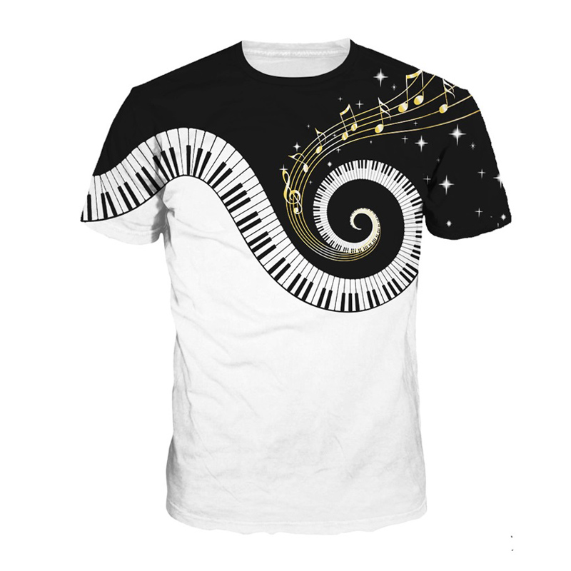 Summer   T     Shirt   Men Funny Piano Music 3d Print Tops Hip Hop Tee Short Sleeve O-Neck   T  -  shirt   Unisex Casual Streetwear Tshirts