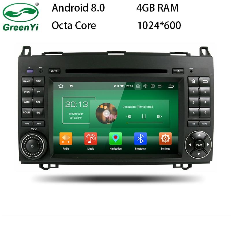 4GB RAM Octa Core Android 8.0 Car DVD Player For Mercedes/Benz/Sprinter/W209/W169/Viano/Vito/B200 WIFI GPS Navigation Radio eunavi 2 din android 8 0 octa 8 core car dvd player for benz sprinter vito w169 w245 w469 w639 b200 radio stereo gps wifi 4g ram