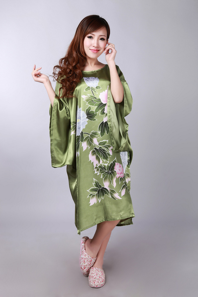 Army Green Women's Silk Rayon Robe Bath Gown Nightgown Sleepwear Loose Spring Mujeres Pijama One Size Flower S0109