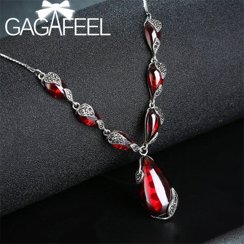 GAGAFEEL Vintage 925 argent Sterling rouge Royal grenat femelle colliers bohème naturel Semi-précieux pierres pendentif colliers