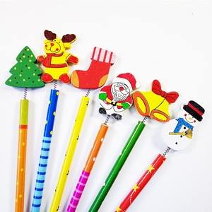 Image 4 - 60 Pcs/lot Merry Christmas Shape wooden Pencils Gift For Children Santa Claus Cartoon Wood Office Stationery School