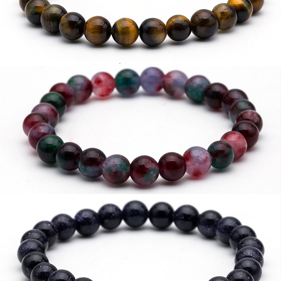 8mm Nature Stone Beads Tiger Eye Buddha Beads Bracelets Bangles For Men Women Male Strand Bracelet Jewelry Accessories on Hand