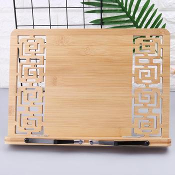 Di Bambù Hollow Regolabile Libro Di Lettura Pagina Del Supporto Del Vassoio Di Carta Pinze Pieghevole Tablet Libro Di Cucina Portatile Robusto Leggio