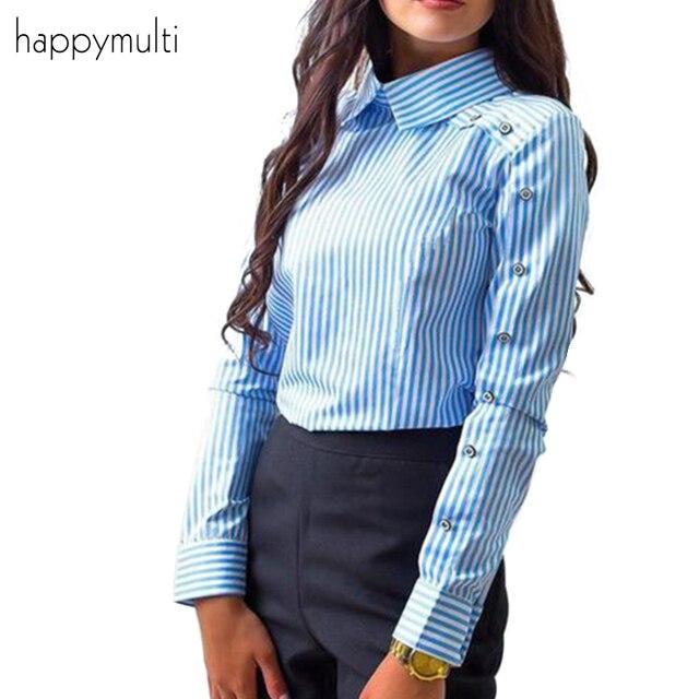 Happymulti Для женщин рубашка отложной воротник в полоску с длинными рукавами сезон: весна–лето Офисные женские туфли рубашки